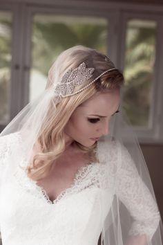 Juliet Bridal Wedding Cap Veil Rhinestone by veiledbeauty on Etsy, $205.00