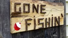 """FISHING DECOR Rustic Wood Sign """"Gone Fishin'"""" for Lake Cottage Cabin or Camp Fisherman Sportsman"""
