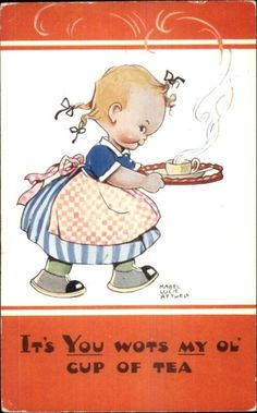 Mabel Lucie Attwell Little Girl Serving Tea Postcard | eBay