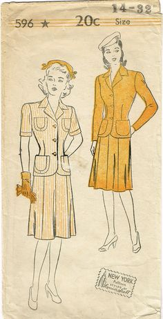 "New York Pattern 596 Misses' WWII Suit Pattern Comes with Skirt and Jacket From the Early 1940s Complete Nice Condition 15 0f 15 Pieces Unprinted Pattern Pieces. Counted. Verified. Guaranteed. Size 14 (32"" Bust)"