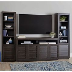 Better Homes & Gardens Ellis Shutter TV Storage Cabinet for TVs up to Dark Oak Finish Image 7 of 7 Modern Tv Wall, Walmart, Wood Storage Cabinets, Tv Wall Decor, Home Theater Rooms, Tv Storage, Family Room Design, Living Room Tv, Better Homes