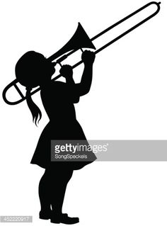 Silhouette illustration of a little girl playing trombone. Marching Band Quotes, Drawing Lessons, Drawing Ideas, Teacher Doors, Book Safe, Band Mom, Music Drawings, Trombone, Busy Book