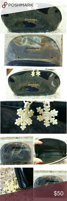 Genuine Black Chanel Makeup bag Large 7x3.5x3 Large Black Patent Chanel Makeup bag with 2 Chanel logo snowflake pendant zipper pulls. Please see all pictures for details. Brand New. Never used, still in cover bag.  Was gift from Chanel with Makeup purchase.   Was a Christmas promotion. Great idea to gift with Christmas presents or maybe Birthday presents enclosed, or just have for your very own! CHANEL Accessories