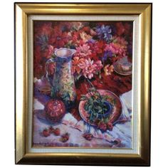 Floral Still Life Print by Nancy Lund ($895) ❤ liked on Polyvore featuring home, home decor, wall art, textured wall art, floral wall art, floral oil paintings and floral home decor