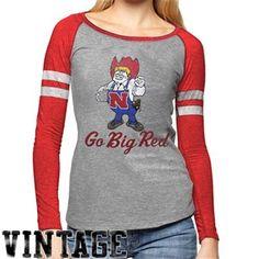 Nebraska Cornhuskers Ladies Baseball Raglan Long Sleeve T-Shirt - Gray/Scarlet