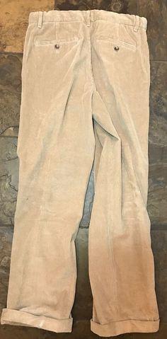Eddie Bauer Men's Tan Corduroy Cuffed Pleated Pants Sz 34 Khaki Brown  | eBay