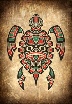 Vintage Red and Green Haida Spirit Sea Turtle by Jeff Bartels