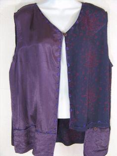 27.71$  Watch now - http://vinde.justgood.pw/vig/item.php?t=rcu6jhk56389 - V81~Tienda Ho~DK PURPLE~Floral~WEARABLE ART Pocket Vest~Rayon~Embroidered~OS 27.71$