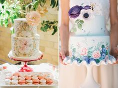 Hand painted wedding cakes are incredibly beautiful and ooze the personalities of the bride & groom. Glitzy Secrets brings you 10 of their top cakes. Painted Wedding Cake, Bride Groom, Wedding Cakes, Hand Painted, Elegant, Amazing, Painting, Beautiful, Kitchens