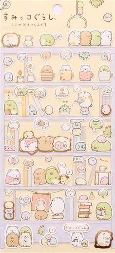 Sumikkogurashi corner bear cat stickers in book shelf 2