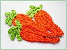 Häkelapplikationen - Möhren Karotten - ein Designerstück von rosentraum bei DaWanda