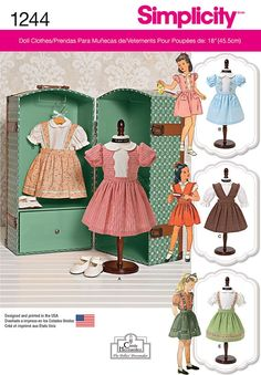 Simplicity Pattern 1244OS One Size - Doll Clothes