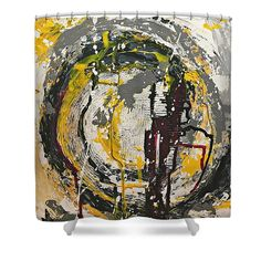 Abstract Shower Curtain featuring the painting Whirlwind by Mary Mirabal