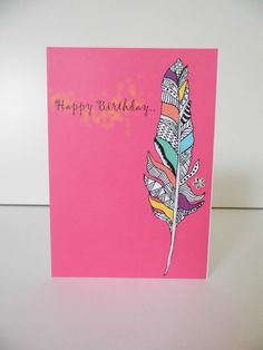 Aztec Feather Birthday Card - Pink on Etsy, £1.80