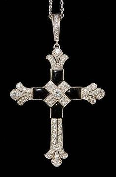 Platinum Diamond Onyx Cross Pendant. -