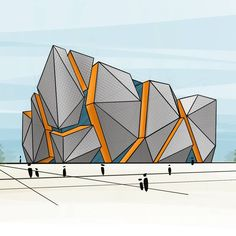Art & Architecture o Conceptual Design Architecture, Office Building Architecture, Architecture Concept Drawings, Architecture Sketchbook, Futuristic Architecture, Facade Architecture, Architecture Portfolio, Mall Design, Architectural Section