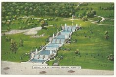 Aerial View Cascades Jackson MI Michigan Postcard | eBay