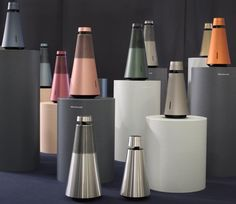 "Our vibrant ""forrest"" of & showcasing all the potential colours of our new speaker systems Audio Design, Speaker Design, Ifa Berlin, Color Plan, Bang And Olufsen, Shape And Form, Bottle Design, Industrial Design, Color Inspiration"