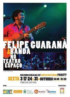 """E segue a temporada de """"Cantando a Minha Terra"""" no Teatro Espaço!   Esta sexta, 24 de outubro, às 20h, o compositor Felipe Guaraná apresenta o repertório de baladas, samba, bossa-nova e marchinhas de sua autoria com o auxílio luxuoso de seletos músicos locais. .  Ingressos a R$20,00 na bilheteria do Teatro,   Venha prestigiar a boa música local! Curta temporada!!   #TeatroEspaço #FelipeGuaraná #CantandoAMinhaTerra #música #evento #show #cultura #turismo #Paraty #PousadaDoCareca"""