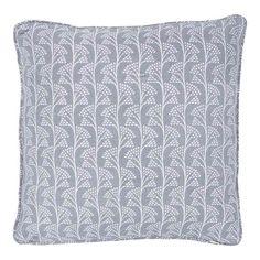 Gurjari Hand Block Light Sage Fan Design Cushion 40x40 - Cushions - Homewares