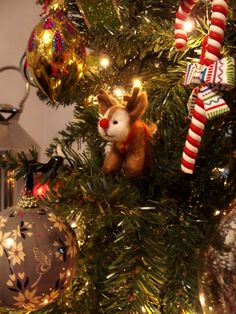 Needle Felted Rudolph on the Christmas tree.  By Carren Lu (www.artistic-touch.co.uk)