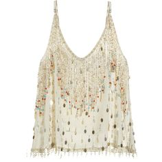 CALYPSO St. Barth Marseilles Embellished Silk Tank (€205) ❤ liked on Polyvore featuring tops, shirts, tanks, tank tops, pearl cc, white silk shirt, spaghetti strap tank, sparkly shirts, strappy tank top and spaghetti strap shirt