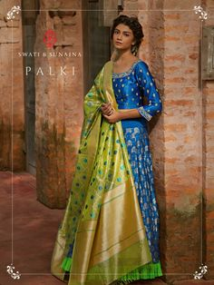 Its no longer about mums wearing Banarasi sarees in the traditional manner. Check out 10 different ways of teaming up a Banarasi to rock the wedding season. Evening Gowns Online, Designer Evening Gowns, Designer Gowns, Indian Designer Wear, Designer Kurtis, Designer Sarees, Indian Attire, Indian Ethnic Wear, Ethnic Dress