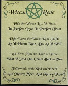 Wiccan Rede Book of Shadows Parchment Poster Page : Wicca Witch New Age Occult