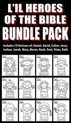 L'il Heroes of the Bible Bundle Pack 1: Great for your VBS, Sunday School or Homeschool activities.These L'il Heroes of the Bible coloring pages are downloadable PDF'S. This bundle pack includes 12 pages: Daniel, David, Esther, Jesus, Joshua, Jonah, Mary, Moses, Noah, Paul, Peter, Ruth