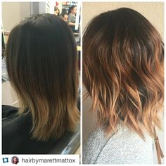 """Rose Gold by Marett.  #rosegoldhair @hairbymarettmattox with @repostapp. ・・・ Before and after!  We started with a grown out ombré and our goal was a true…"""