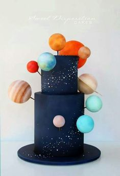 Solar system cake - For all your cake decorating supplies, please visit http://www.craftcompany.co.uk/ (galaxy cake)