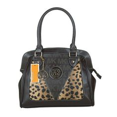 #PinLove Michael Kors Logo Signature Leopard Large Coffee Totes$66.99