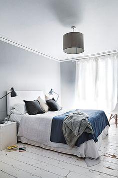 grey + blue bedroom