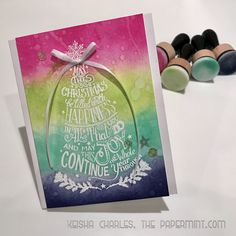 """""""Christmas Rainbow"""" Card. My first  Christmas Card of 2016!  This is the 1st design in a set of 3 that feature the Tim Holtz doodle greetings stamp set with distressink."""