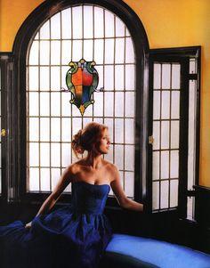 stunning kate walsh, stunning blue dress.