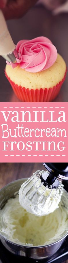 How to make easy Vanilla Buttercream Frosting for your favorite cupcakes and cakes. A quick, easy, and amazingly delicious Vanilla Buttercream Frosting recipe to perfectly top your favorite cake or cupcakes. Delicious! I looove buttercream!
