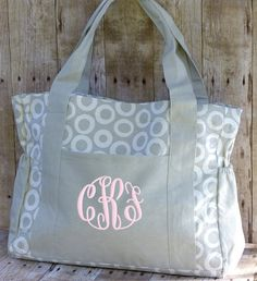 Personalized Diaper Bag Gray White Monogrammed Boy Grey Canvas Large