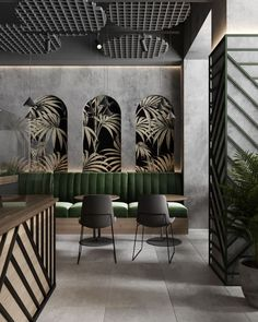 green leaves cafe on Behance Restaurant interior design