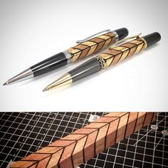 Welsh Elm and Mahogany wood turned pens with Ebony veneer inlays