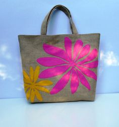 Summer Jute Tote bag with bold by Apopsis on Etsy,