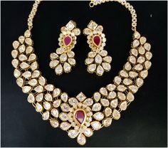 ANTIQUE GOLD PLATED SIMULATED DIAMOND POLKI KUNDAN ENAMEL NECKLACE EARRING SET #DNJ #Pendant