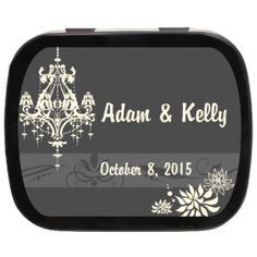 Classically Chic Wedding Chandelier Personalized Mint Tins #timelesstheme #ediblefavors #classywedding