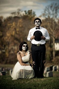 Adam & Barbara's Day of the Dead, Cemetery Trash the Dress Photo Shoot