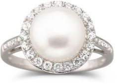 JCPenney FINE JEWELRY Cultured Freshwater Pearl & White Sapphire Ring