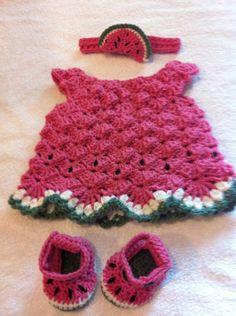 Handmade baby girl crochet Watermelon Lace Dress, Shoes (Sandals), Headband set, via Etsy.