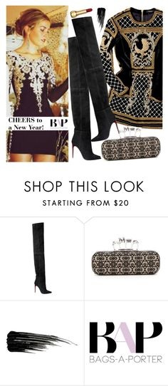 """""""#BAPmix TBT new years 2017"""" by bagsaporter ❤ liked on Polyvore featuring Balmain, Alexander McQueen, Urban Decay and Prada"""
