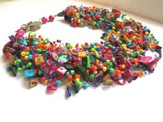 Free shipping Multicolor necklace colorful necklace by BagiraBijou