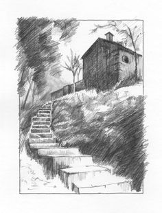 January 27, 2018. Sketching exercise from ArtTutor.com (Phil Davies - Cabin). Pencils.