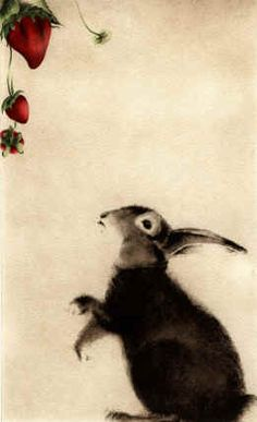 Lapin aux Fraises (Rabbit with Strawberries) Hand Watercolored Etching C.C.Barton