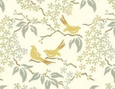 Birds Wallpaper, Pale Yellow - contemporary - wallpaper - Galbraith & Paul